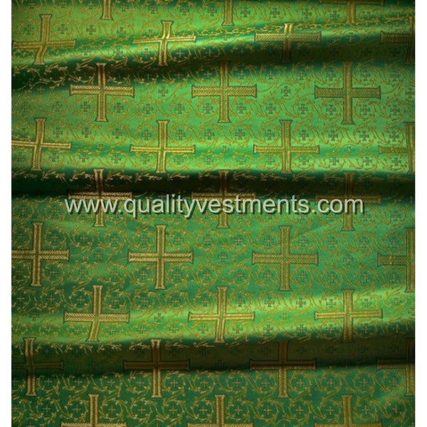 Cross Metallic Brocade Church Fabric Gold Red Green Blue White Black Purple