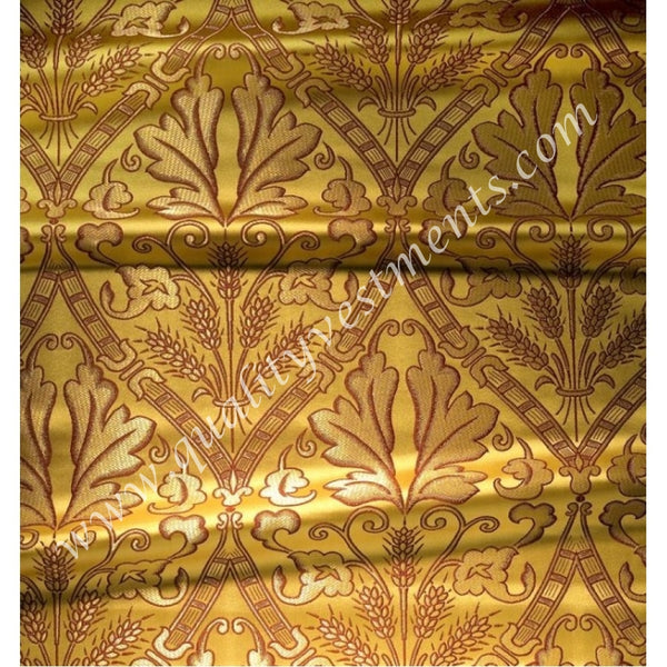 Wheat pattern Metallic Brocade Vestment Fabric Gold Red Green Blue White Black