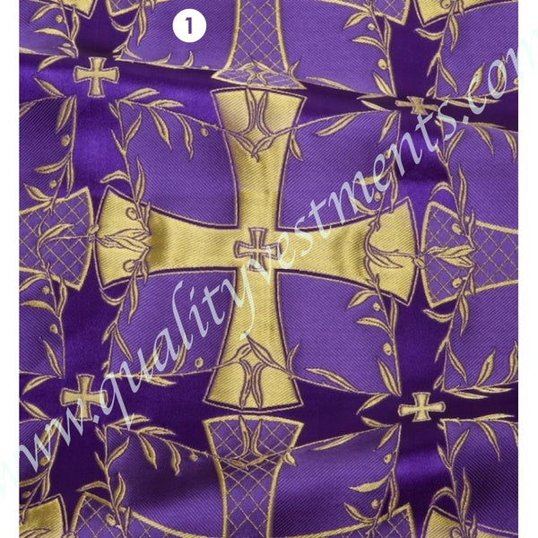 "Cross Pattern Ecclesiastic Fabric Purple Blue Green Yellow Red Metallic 59"" Wide."