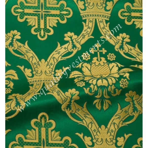 "Green Vestment Brocade Cross pattern Floral Metallic thread 59"" wide."