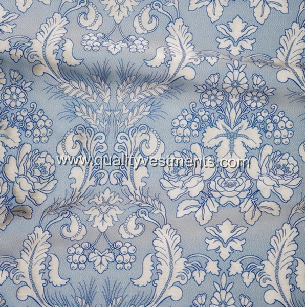 Wheat Grapes pattern fabric Brocade Metallic Vestment Blue White Gold
