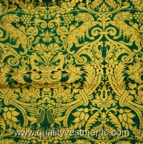 Leopard Grapes Floral Jacquard fabric Brocade Metallic Vestment Green Blue Purpl