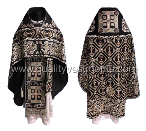 Black Priest's Vestment FULLY Embroidered Russian Style or other color TO ORDER
