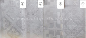 "White Cross pattern Church brocade Nonmetallic fabric for vestment sewing 59"" w."