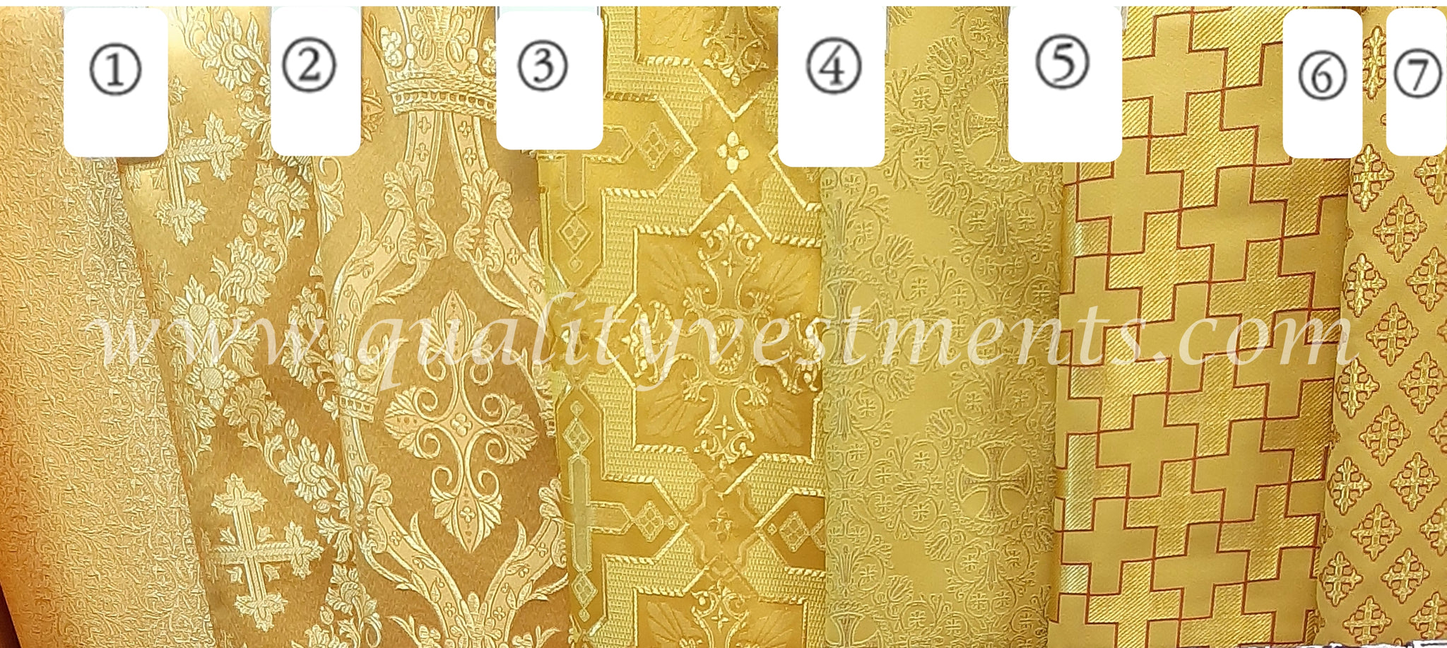 "Gold Cross pattern Church brocade Nonmetallic fabric for vestment sewing 59"" w."
