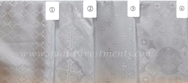 White Vestment Fabric Cross pattern Nonmetallic brocade for Church sewing.