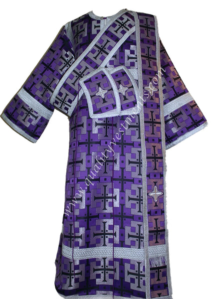 Purple ProtoDeacon's Vestments metallic brocade Large cross pattern TO ORDER!