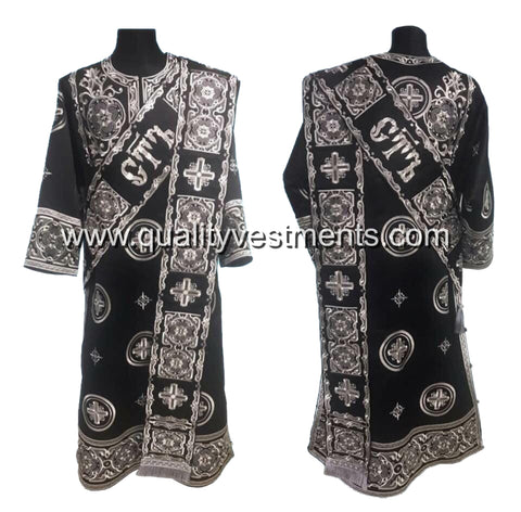 Black ProtoDeacon's Embroidered vestments LIGHTWEIGHT TO ORDER