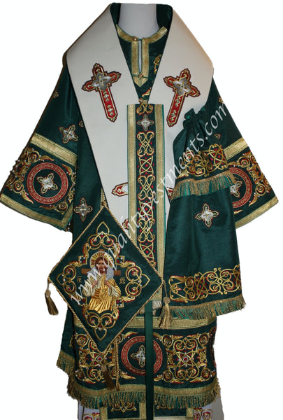 GREEN Bishop's Vestments Embroidered Lightweight Wool Omophors TO ORDER!