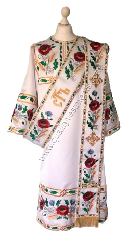 White ProtoDeacon's Embroidered vestments Poppy design LIGHTWEIGHT TO ORDER