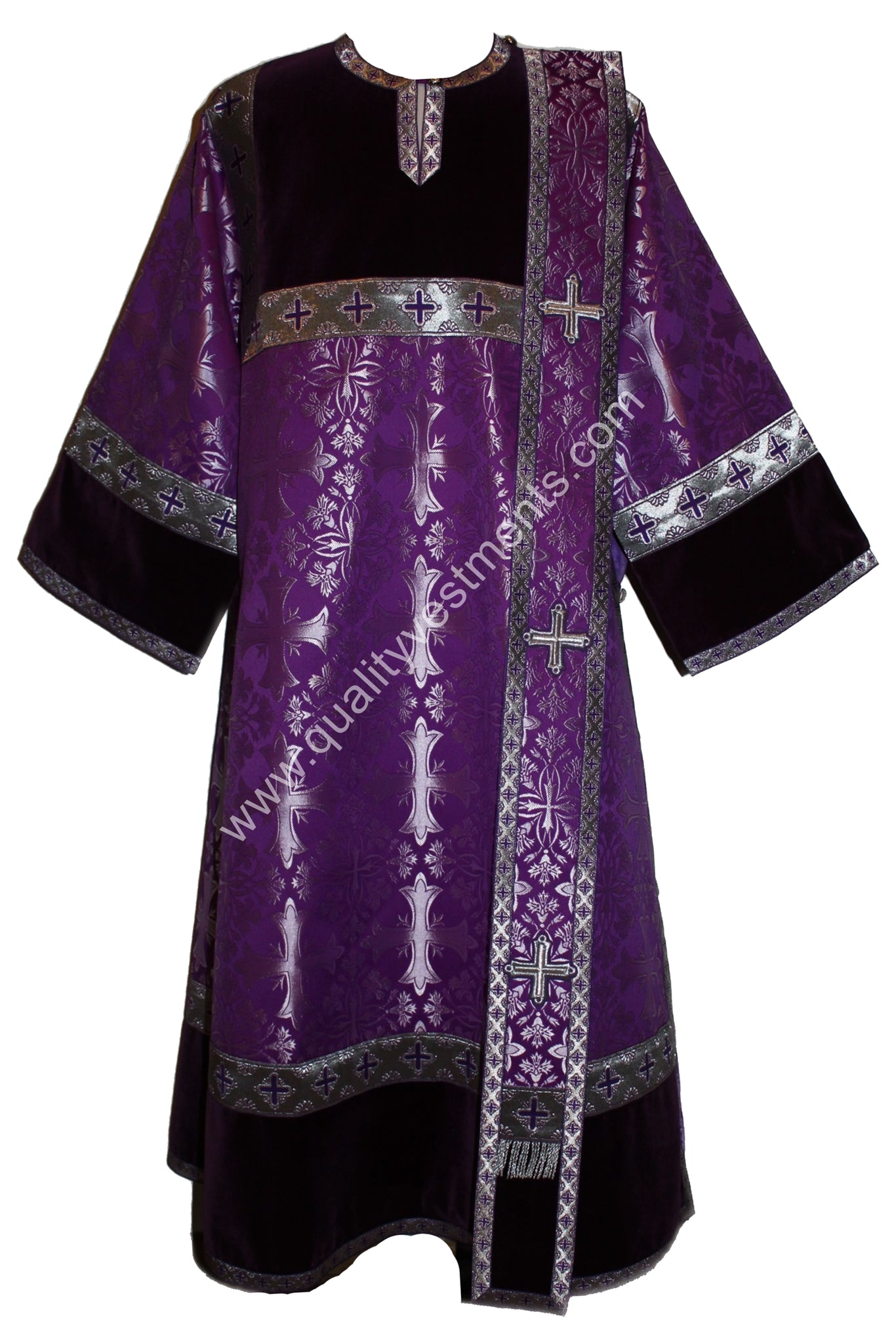 Purple Deacon Vestments with velvet Nonmetallic Brocade Cross pattern TO ORDER