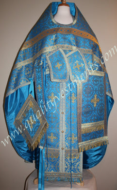 Blue Gold Metallic Orthodox Priest Vestment Russian Style or Greek – To Order
