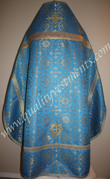 Blue Orthodox Priest Vestment Cross pattern brocade To Order
