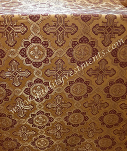 "Cross pattern Liturgical brocade Antique gold with burgundy Metallic 59"" wide"