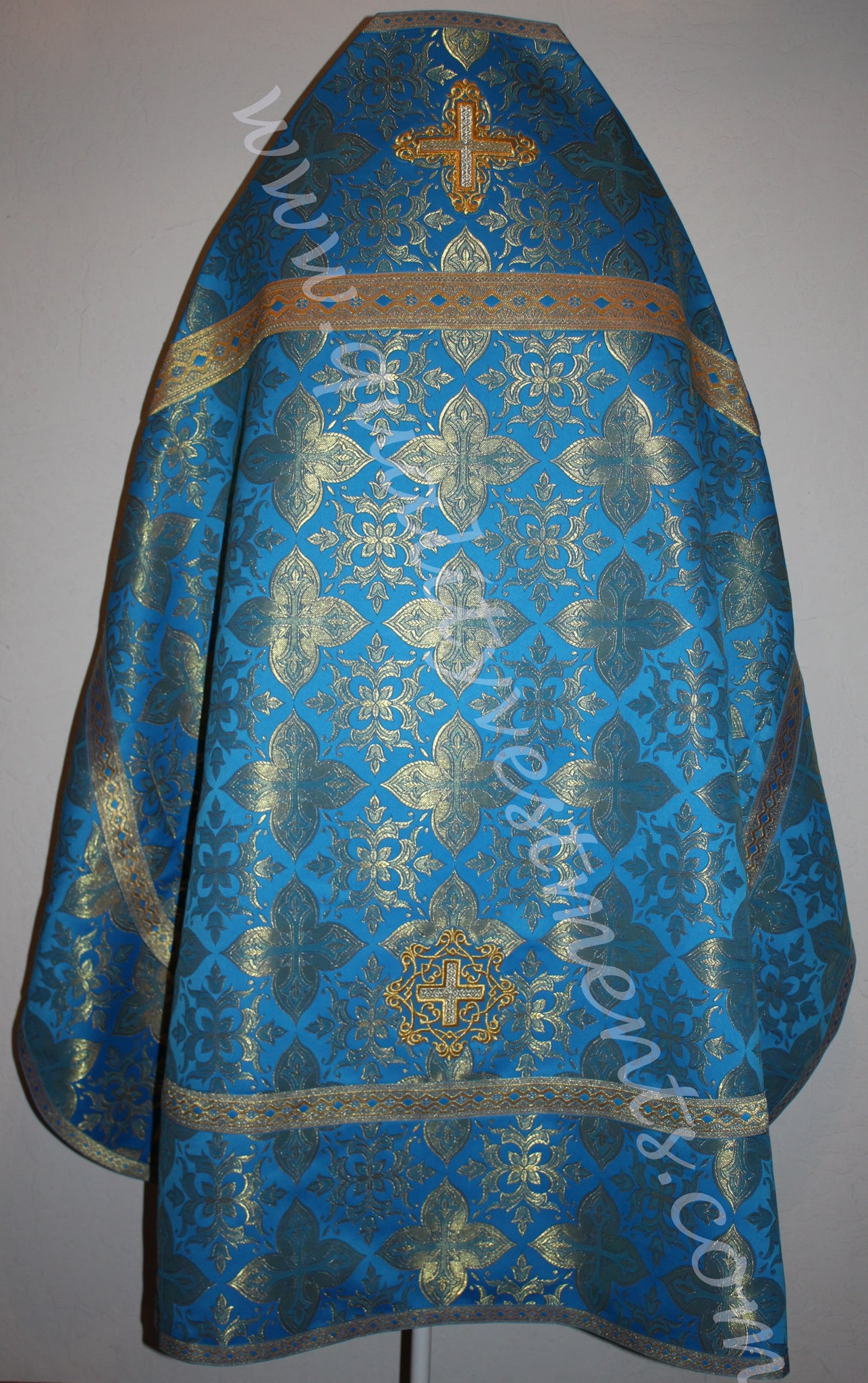 Blue Priest's vestments Metallic Brocade Orthodox Russian style