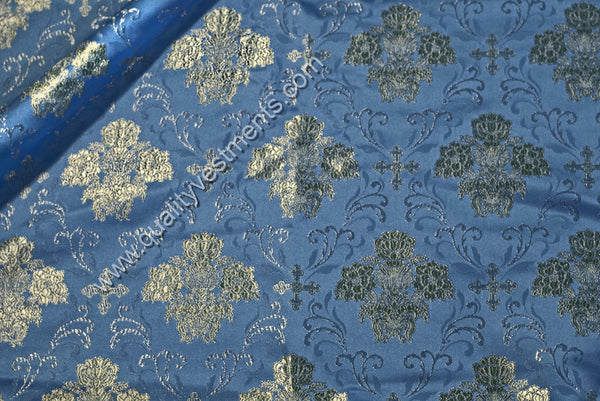 "Crosses & Floral Rayon Vestment fabric 59"" WIDE Gold Red Blue White Green Purple"
