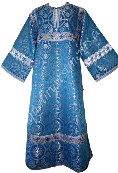 Blue Reader Acolyte Robe Stikhar Nonmetallic Adult size Cross pattern TO ORDER