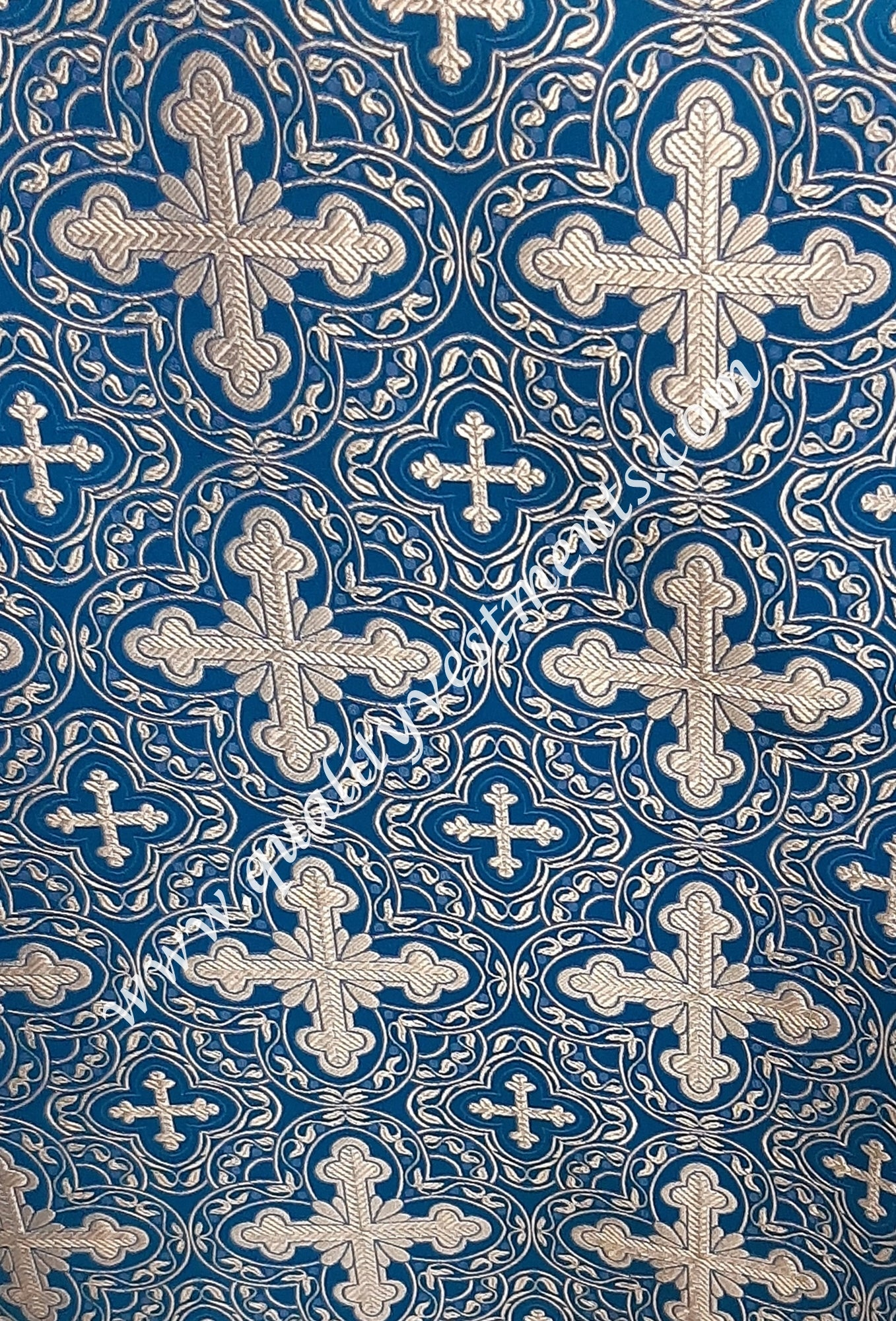 "Blue Vestment fabric Cross pattern Nonmetallic Liturgical sewing 59"" wide."