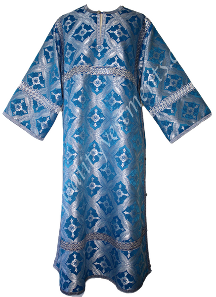 Blue Acolyte Robe Reader Stikhar Nonmetallic Adult size Cross pattern TO ORDER