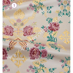 "Rose pattern Church fabric Metallic Vestment Brocade Liturgical sewing 59"" w."