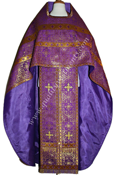 PURPLE Priest's Vestments Metallic brocade Cross pattern Orthodox TO ORDER