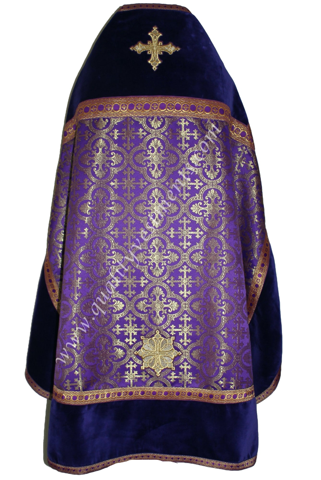 Purple Gold w Velvet Orthodox Priest Vestments Metallic Brocade TO ORDER!
