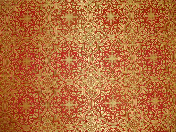 "Red Church fabric Cross pattern Nonmetallic Vestment brocade for sewing 59"" w."