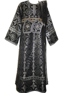 Black Deacon's Vestments Cross pattern Metallic Brocade Lined TO ORDER