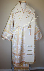 Orthodox Bishop's Omophors Large Omophorion White Wool with Gold crosses