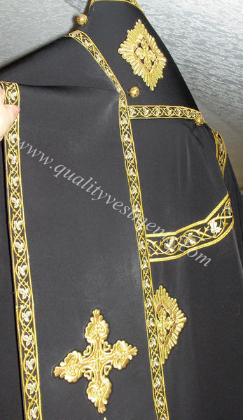 Orthodox Bishop's Vestments Black Gold made with Embroidered galloon
