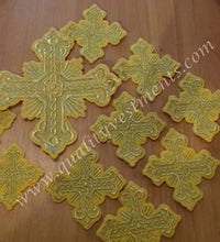 TO ORDER Embroidered 10 Piece Cross Set YELLOW GOLD DEACON Vestment
