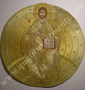"Liturgical Embroidered Icon Christ Pantokrator Teacher 9 1/2"" 24 cm Diam. Golds"
