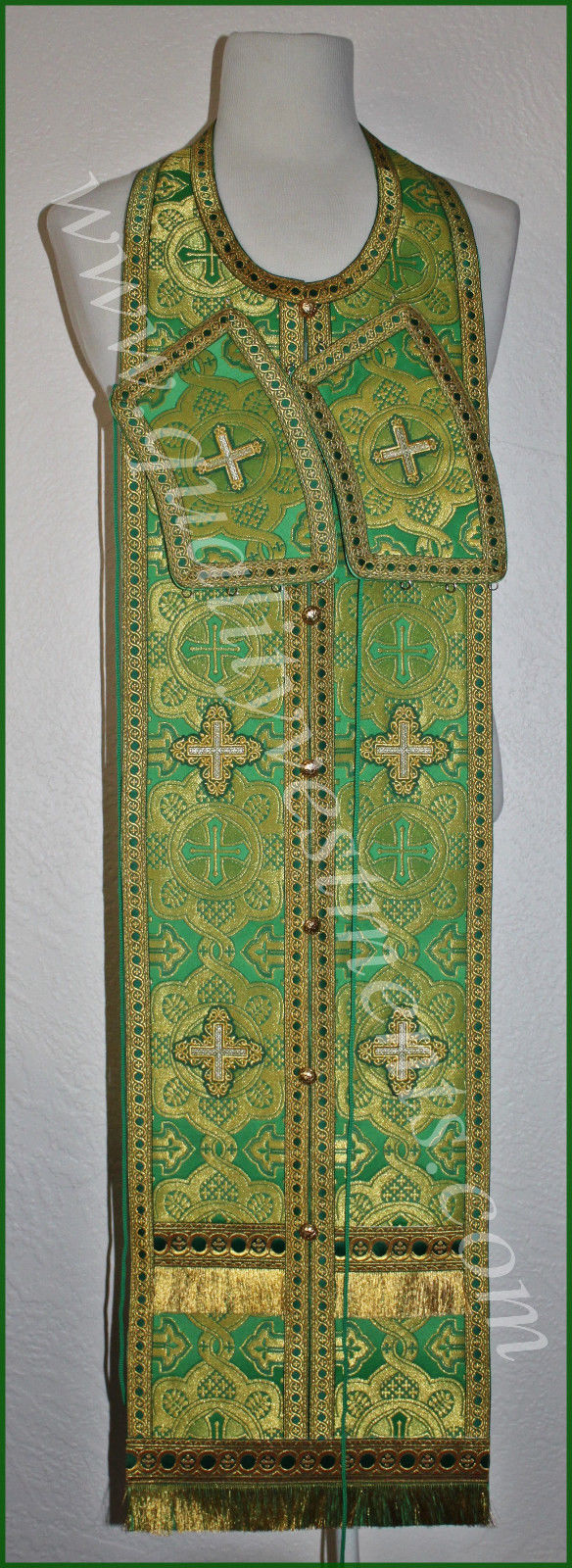 "Communion Priest Set Stole Cuffs Orthodox Green Gold 43"" (109 cm) length"