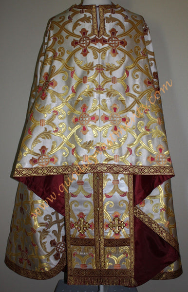 TO ORDER! Priest Vestment Greek Style Metallic Brocade White Gold Maroon + Icons