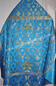 Blue Orthodox Priest's Vestments Metallic Brocade Russian style