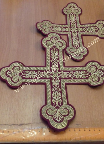 Altar and Oblation Tables Set of 2 Crosses Burgundy Gold 8 3/4