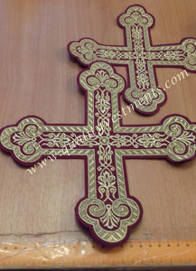 "Altar and Oblation Tables Set of 2 Crosses Burgundy Gold 8 3/4""  and 6 1/4"" or any color"