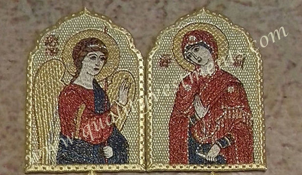 "Embroidered Icon Set: Annunciation 4-1/2"" (12 cm) by 3"" (8 cm), 2 in Set, Color"