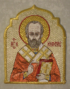 "Church Liturgical Embroidered Icon of St.Nicholas 5"" (13cm) high x4"" (10cm) wide"