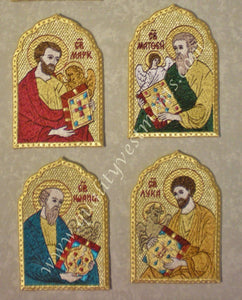 "Set of embroidered icons Four 4 Evangelists Mark Mathew John Luke 4 1/2"" 12 cm"