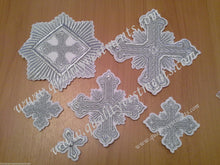 "Embroidered crosses Priest set ""Festal"" white silver 14 pc set"