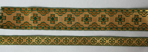 "Church liturgical jacquard vestment galloon trim ""Straight cross"" 1 5/8"" 4 cm"