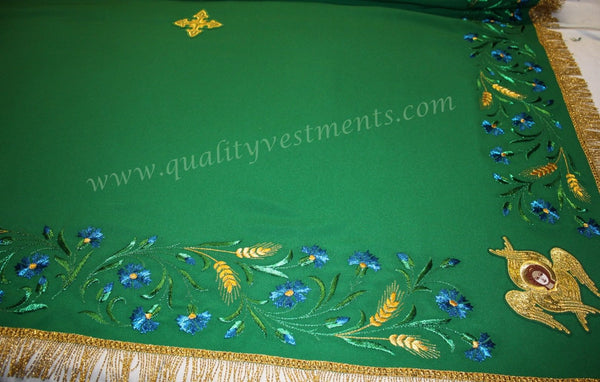 Embroidered Altar Table Cover Pelena Green with Wheat, Blue Floral Cornflower