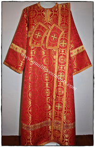 Deacon Russian Orthodox Vestment  Metallic Brocade RED Gold or any color