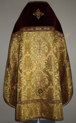 TO ORDER! Russian Style Priest Vestment Metallic Brocade Burgundy Gold, Crown
