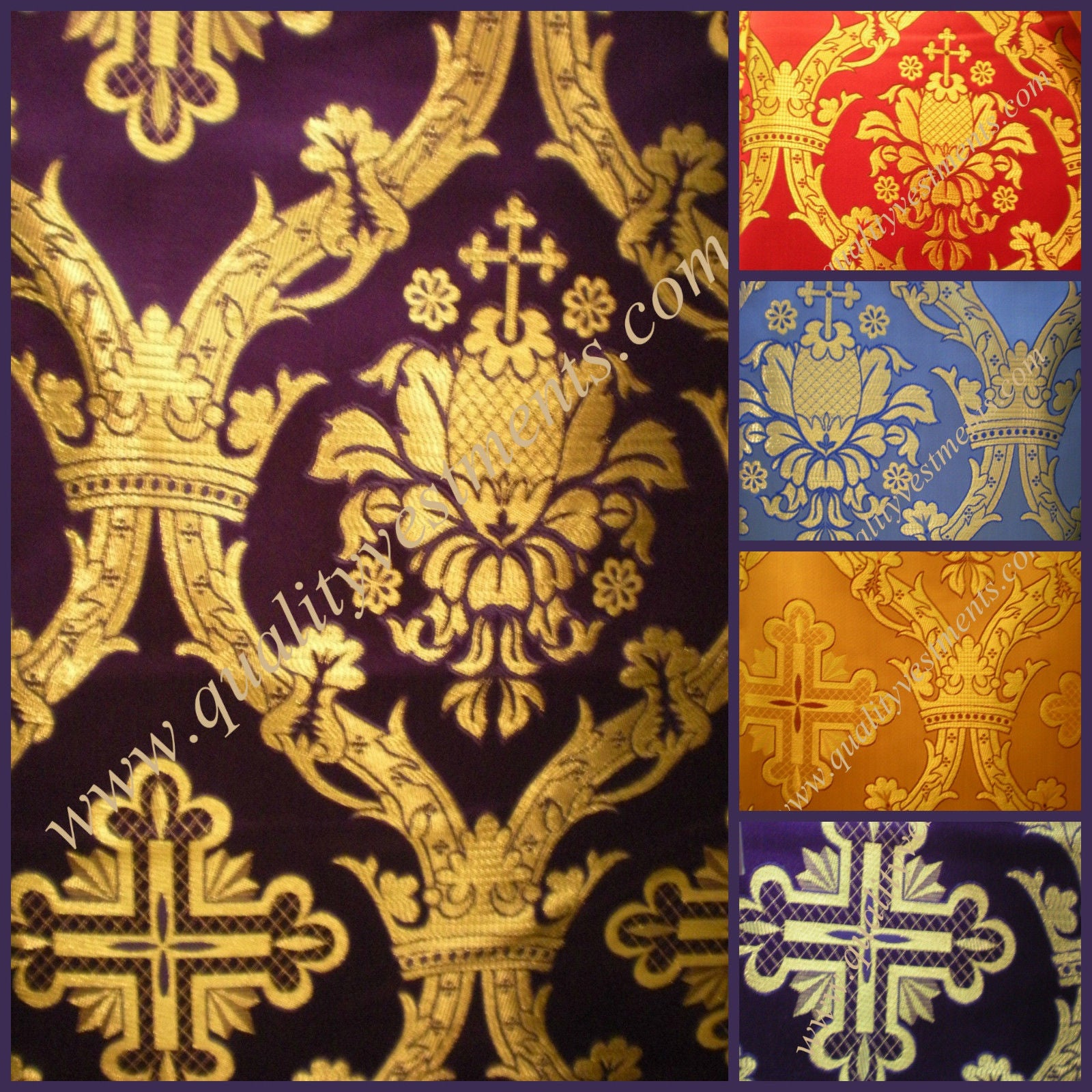 Crown Large cross pattern metallic vestment brocade Gold Red Green Blue etc