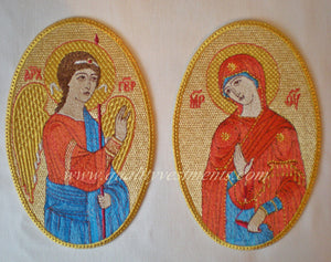 "Church Liturgical Embroidered Icon Set of 2 The Annunciation 7"" (18 cm) Oval"