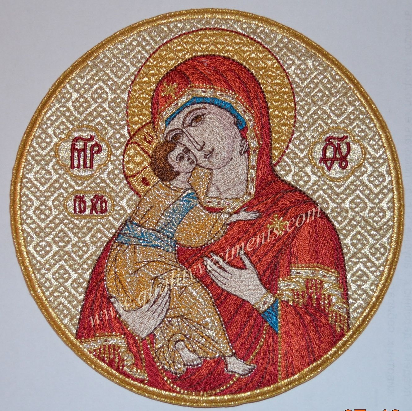 "Church Liturgical Embroidered Icon Mother of God Theotokos Vladimir 7 1/2"" 19 cm"