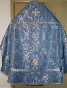 Blue silver Crown Pattern Priest's vestments Metallic Brocade Russian style