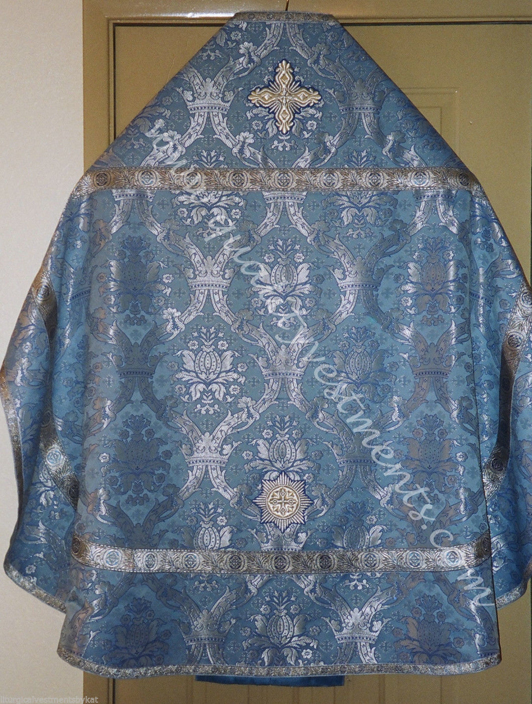 Orthodox Priest vestment  Metallic Brocade Russian style Blue silver Crown